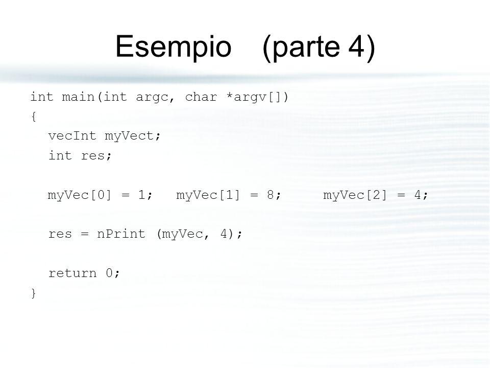 Esempio (parte 4) int main(int argc, char *argv[]) { vecInt myVect;